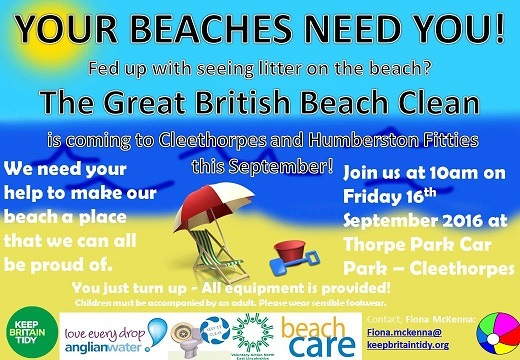 Beach Clean Up Day at Cleethorpes on Friday 16th September
